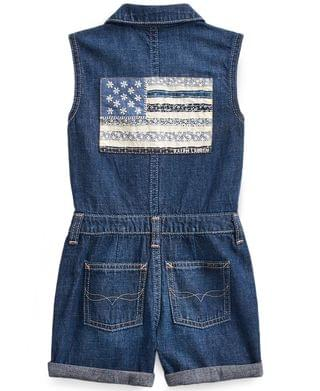 KIDS Little Girls Cotton Denim Flag Romper
