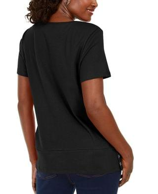 WOMEN Button-Hem Scoop-Neck Cotton Top, Created for Macy's
