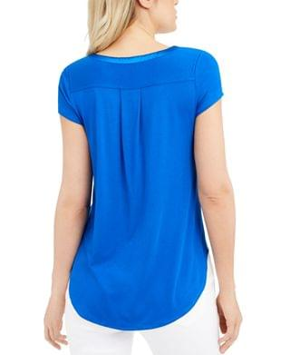 WOMEN Petite Satin-Trim High-Low T-Shirt, Created for Macy's