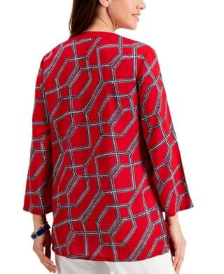WOMEN Petite Cotton Printed Tasseled Tunic, Created for Macy's