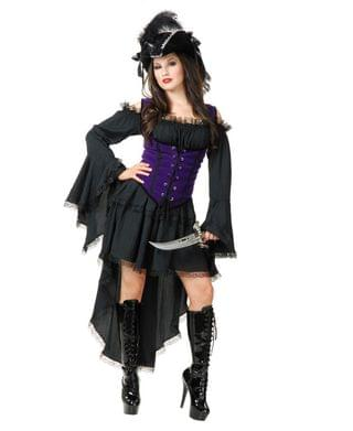 MEN Women's Natural Pearl Pirate Lady Adult Costume, Toy Sword Not Included
