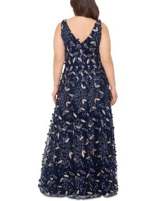 WOMEN Plus Size Floral-Embellished Gown