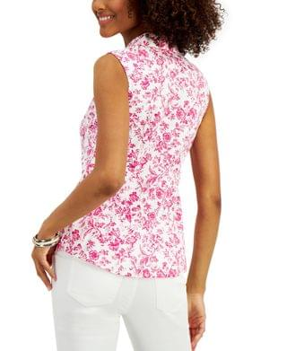 WOMEN Petite Floral-Print Sleeveless Blouse, Created for Macy's