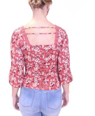 WOMEN Juniors' Floral-Print Top With Matching Mask