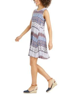 WOMEN Petite Sleeveless Printed Sheath Dress, Created for Macy's
