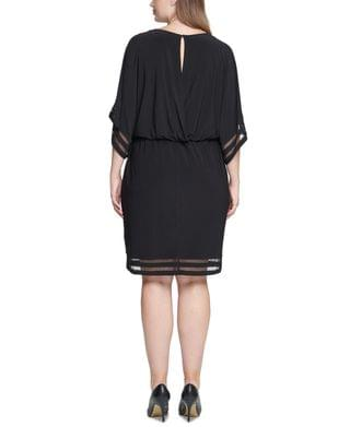 WOMEN Plus Size Illusion-Trim Blouson Dress
