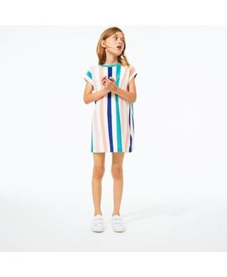 KIDS Toddler and Little Girls Short Sleeve Striped Dress
