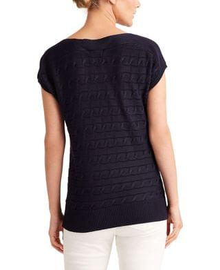 WOMEN Cable-Knit Short-Sleeve Sweater