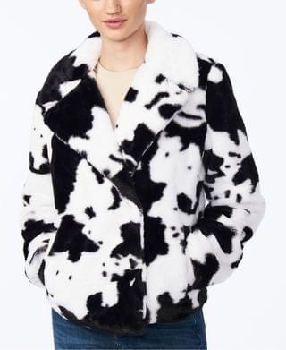 WOMEN Juniors' Cow-Print Faux-Fur Jacket, Created for Macy's