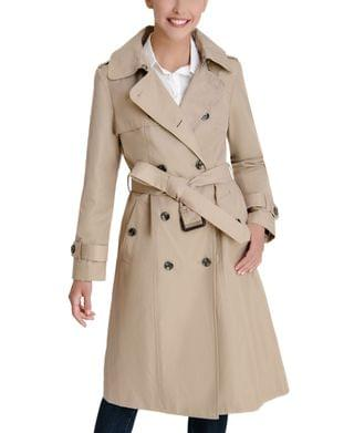 WOMEN Double-Breasted Hooded Water-Resistant Trench Coat