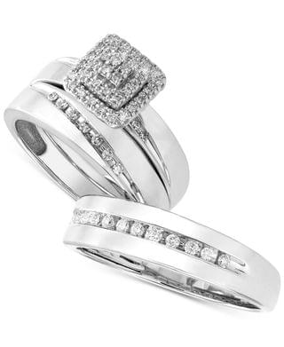 MEN His & Her Channel-Set Diamond Wedding Set Collection in 14k White Gold