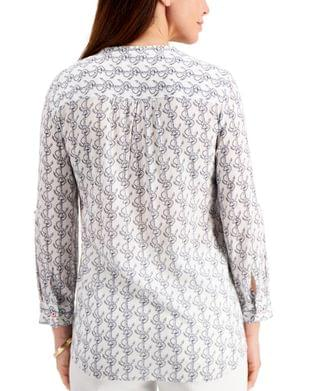 WOMEN Petite Anchor-Print Shirt, Created for Macy's