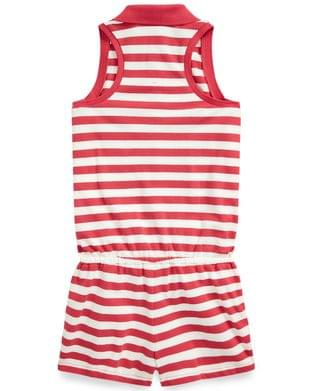 KIDS Big Girls Striped Mesh Polo Romper
