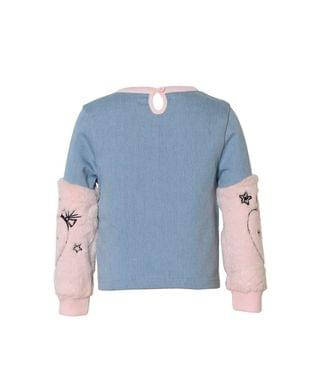 KIDS Big Girls Faux Denim Pullover with Fur Sleeves