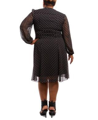 WOMEN Plus Size Pintucked Dot-Print Fit & Flare Dress