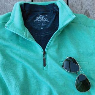 MEN Coastal Quarter Zip - Beach Glass