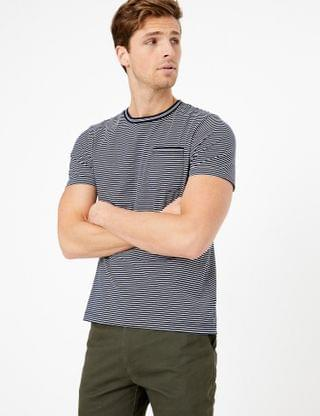 MEN Premium Cotton Fine Striped T-Shirt