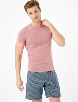 MEN Cotton Diamond Print Pyjama Shorts