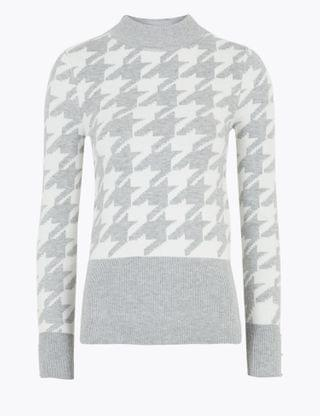 WOMEN Soft Touch Dogtooth Funnel Neck Jumper
