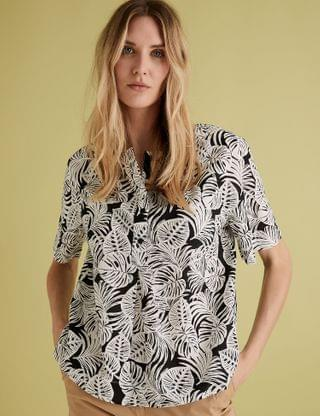 WOMEN Pure Cotton Printed Collarless Blouse