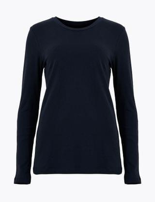 WOMEN Pure Cotton Straight Fit Long Sleeve Top