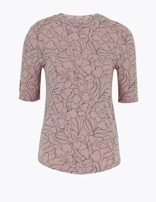 WOMEN Floral Fitted Half Sleeve Top