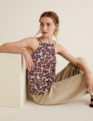 WOMEN Satin Floral Gathered Neck Shell Top