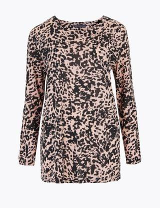 WOMEN Animal Print Relaxed Long Sleeve Top