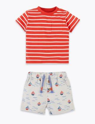 KIDS 2 Piece Pure Cotton Striped Outfit (0-3 Years)