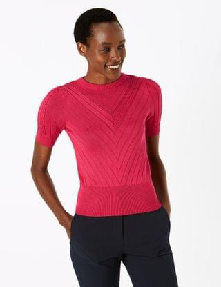 WOMEN Ribbed Round Neck Short Sleeve Knitted Top