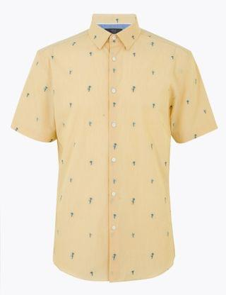 MEN Pure Cotton Palm Tree Short Sleeve Shirt