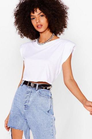 WOMEN Crop Right There Shoulder Pad Tee