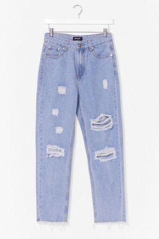 WOMEN Hole-Heartedly Agree Distressed Mom Jeans
