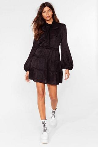 WOMEN Got It on Texture Pussybow Mini Dress