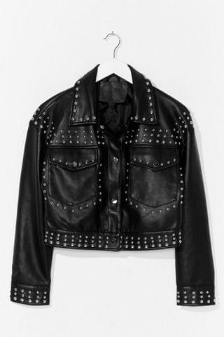 WOMEN Tell Me About It Stud Faux Leather Shirt Jacket