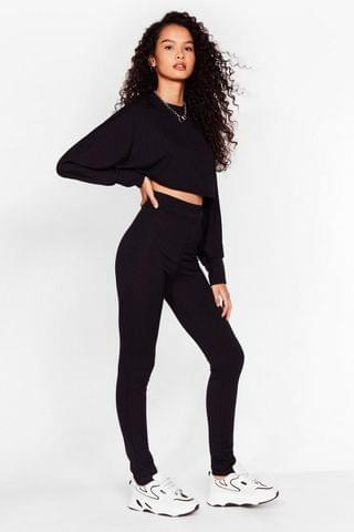 WOMEN Let Rib Be Cropped Sweater and Leggings Set