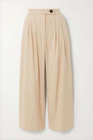 WOMEN ANNA QUAN Gigi pleated linen-blend straight-leg pants