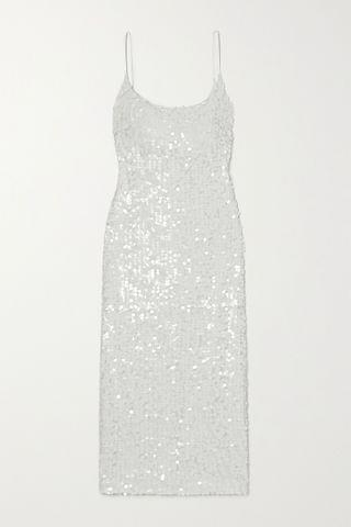 WOMEN GALVAN Mykonos sequined metallic tulle midi dress