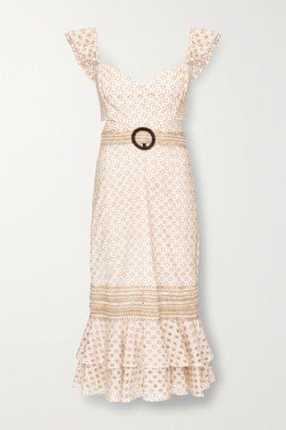 WOMEN PATBO Belted broderie anglaise cotton-blend midi dress