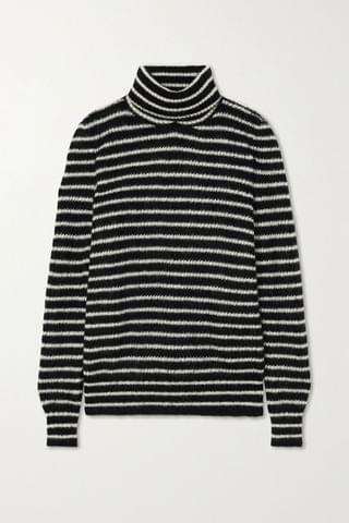 WOMEN SAINT LAURENT Striped mohair-blend turtleneck sweater