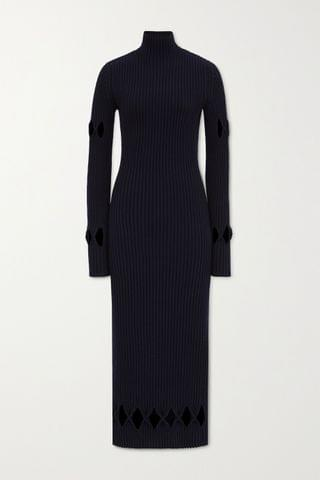 WOMEN VICTORIA BECKHAM Cutout ribbed wool-blend turtleneck midi dress