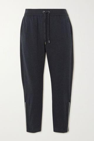 WOMEN BRUNELLO CUCINELLI Bead-embellished stretch-cotton jersey track pants