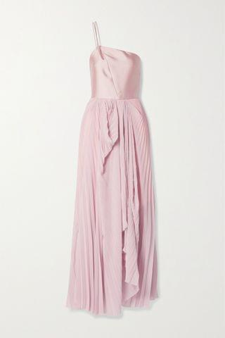 WOMEN TRE BY NATALIE RATABESI The Selenite pleated georgette and silk-twill gown