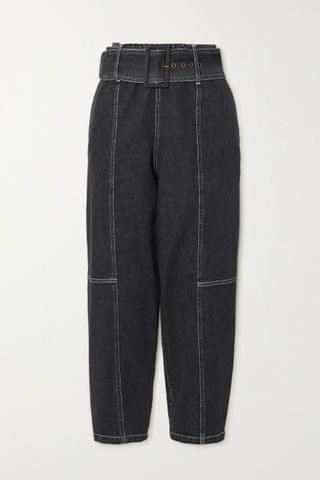 WOMEN SEE BY CHLO Paneled high-rise tapered jeans