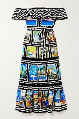 WOMEN MARY KATRANTZOU MARY-MARE Cannes off-the-shoulder ruffled printed cotton-blend midi dress