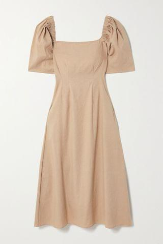 WOMEN ANNA QUAN Aura linen-blend midi dress