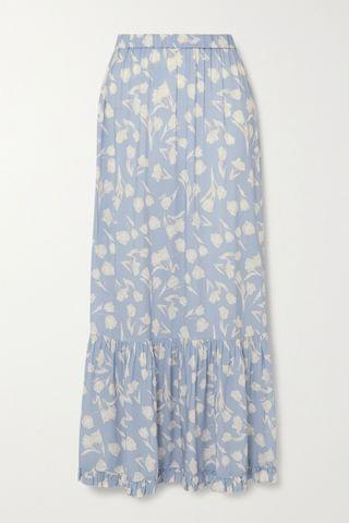 WOMEN PEONY + NET SUSTAIN tiered floral-print woven maxi skirt