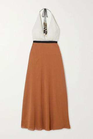 WOMEN ERES Palma color-block silk-crepe halterneck maxi dress