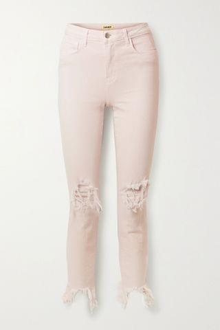 WOMEN L'AGENCE High Line cropped distressed high-rise skinny jeans