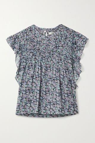 WOMEN ISABEL MARANT TOILE Layona ruffled floral-print cotton-voile blouse